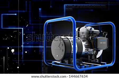 Digital illustration of a generator  in colour background