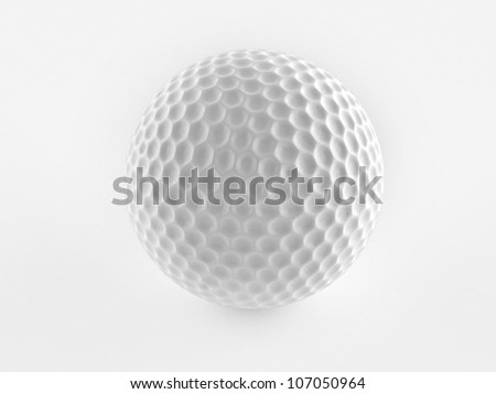 Digital illustration of a golf ball in white background/ golf ball - stock photo