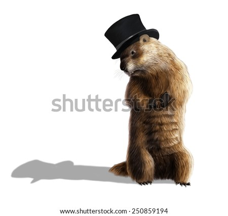 Digital illustration of a groundhog looking at his shadow - stock photo