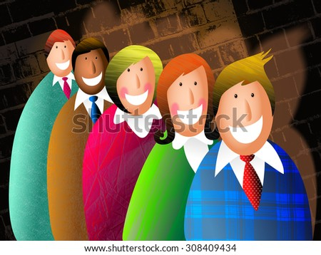 Digital illustration of a group of happy business people standing together as a team.