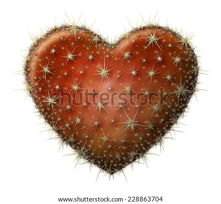 Digital illustration of a heart shaped prickly pear cactus. - stock photo