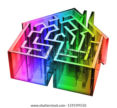 Digital illustration of a maze in the shape of a house. - stock photo