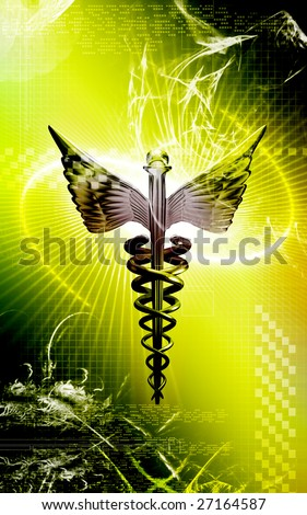 Digital illustration of a medical logo in   colour - stock photo