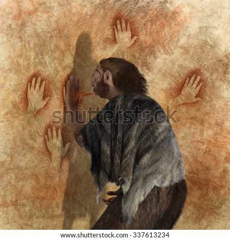 Digital illustration of a Neanderthal painting in a cave - stock photo