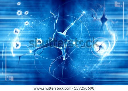digital illustration of a neuron in colour background - stock photo