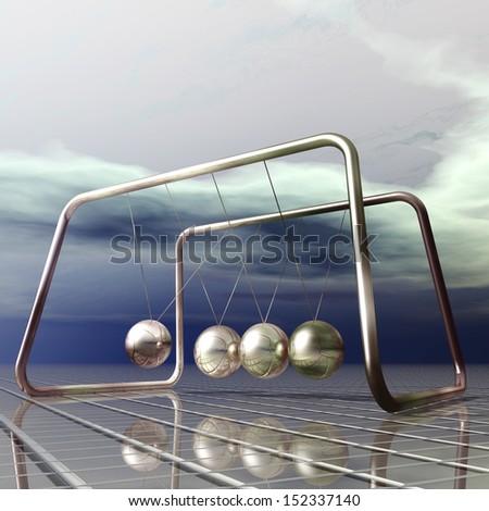 Digital Illustration of a Newton Pendulum - stock photo