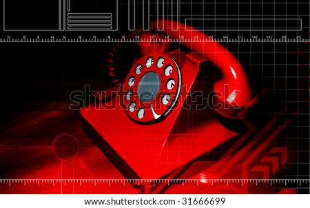 Digital illustration  of a red colour telephone