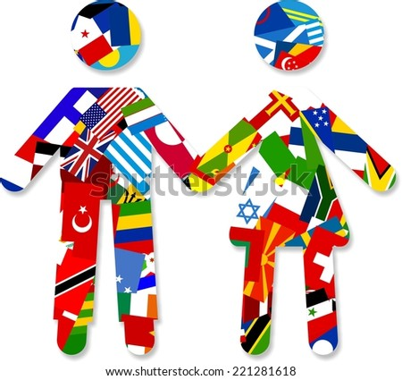 Digital illustration of a silhouette couple made up of world flags holding hands.