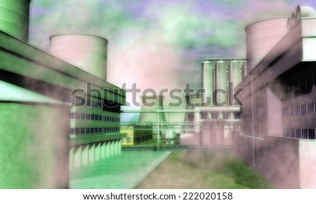 Digital Illustration of a Surreal Industrial Area - stock photo