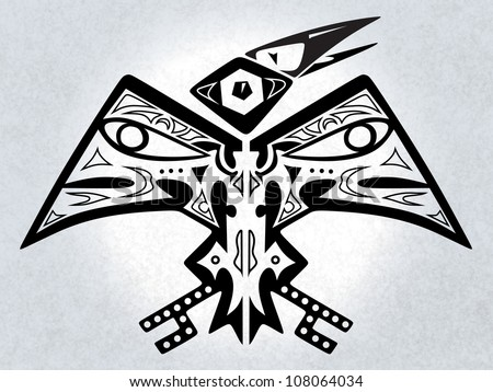 digital illustration of a symmetrical native american folk-art stylized mythical bird creature - stock photo
