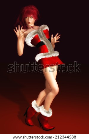 Digital Illustration of a Woman in Christmas Dress - stock photo