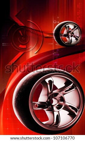 Digital illustration of Alloy wheel in colour background - stock photo