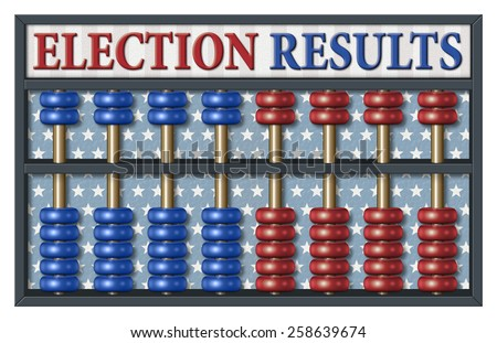 Digital illustration of an abacus to count Republican and Democrat votes. Area for text or title is included.