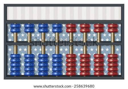 Digital illustration of an abacus to count Republican and Democrat votes. Area for text or title is included. - stock photo