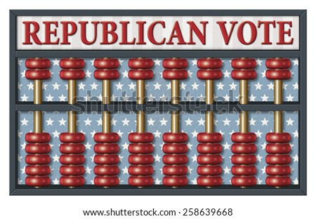 Digital illustration of an abacus to count Republican votes. Area for text or title is included. - stock photo