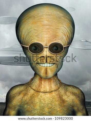 Digital Illustration of an alien. - stock photo