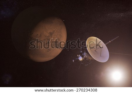 Digital illustration of an unmanned spacecraft approaching Mars.  Elements of this image furnished by NASA - stock photo