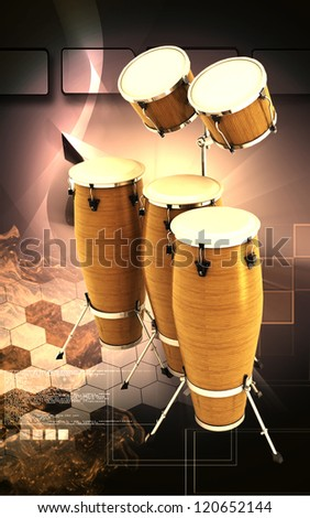 Digital illustration of  Bass drum  in  colour background