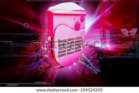 Digital illustration of bathroom fan heater in colour background