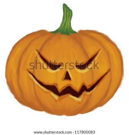 Digital illustration of big pumpkin with scary face on white background.