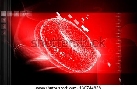 Digital illustration of  blood cell  in colour  background