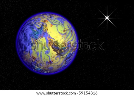Digital illustration of blue planet and a bright star