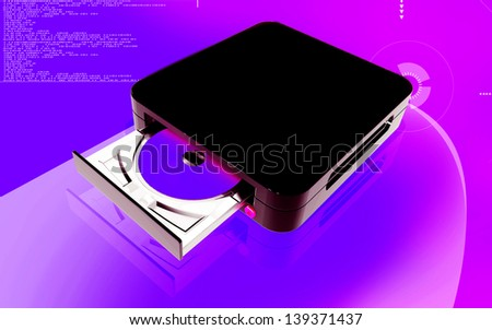 Digital illustration of Blue ray device  in colour background