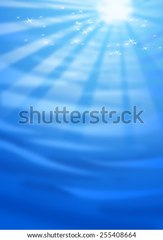 Digital illustration of blue water with sun and light effects. - stock photo