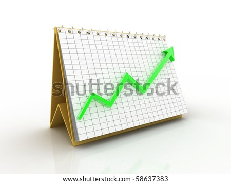 digital illustration of business chart and arrow in white background.business growth concept - stock photo