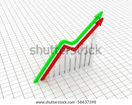 digital illustration of business graph and arrow in white background.business growth concept - stock photo