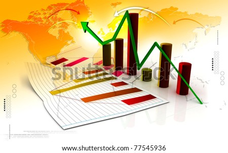 Digital illustration of Business graph in color background - stock photo