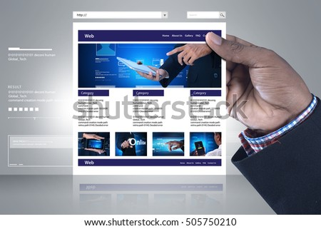 digital illustration of business man showing web page
