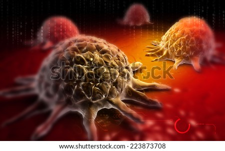 Digital illustration of Cancer cell in colour  background  - stock photo