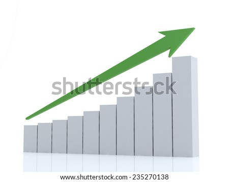 Digital illustration of 3d business graph in white background