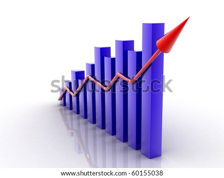 digital illustration of 3d graph showing rise in profits or earnings