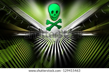 Digital illustration of danger  sign  in colour background