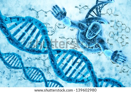 Digital illustration of DNA and the human - stock photo