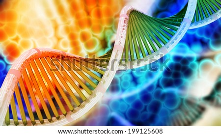 Digital illustration of Dna in abstract background  - stock photo