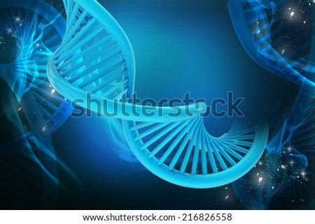 Digital illustration of dna in color background - stock photo