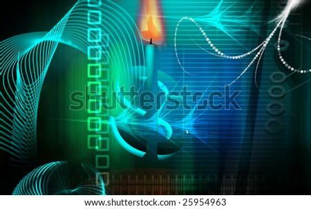 Digital illustration of dollar and candle fire