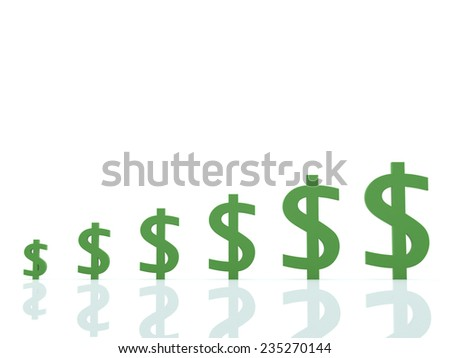 Digital illustration of dollar sign growth business Graph in 3d on white background - stock photo