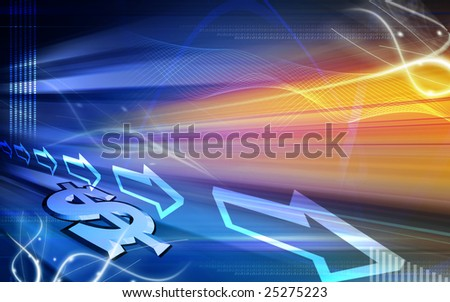 Digital illustration of Dollar sign in colourful background - stock photo