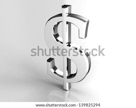 Digital illustration of dollar sign in white background / Dollar Sign - stock photo