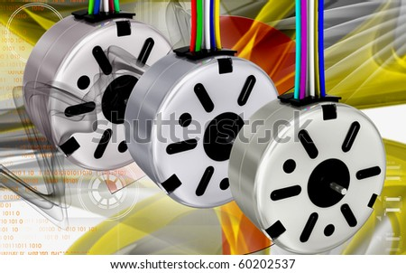 Digital illustration of electric stepper in colour background