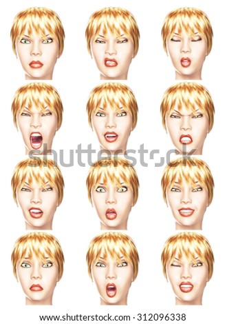 Digital Illustration of facial Expressions - stock photo