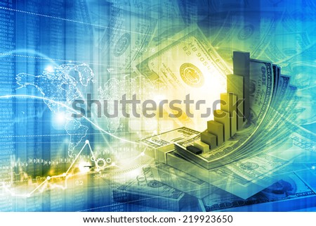Digital illustration of Financial growth concept - stock photo