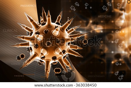 Digital illustration of  Flu virus in color  background