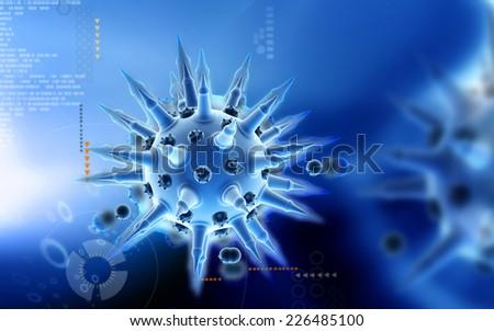 Digital illustration of  Flu virus in colour  background  - stock photo