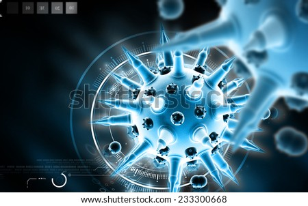 Digital illustration of  Flu virus in colour  background