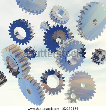 Digital Illustration of flying Gears